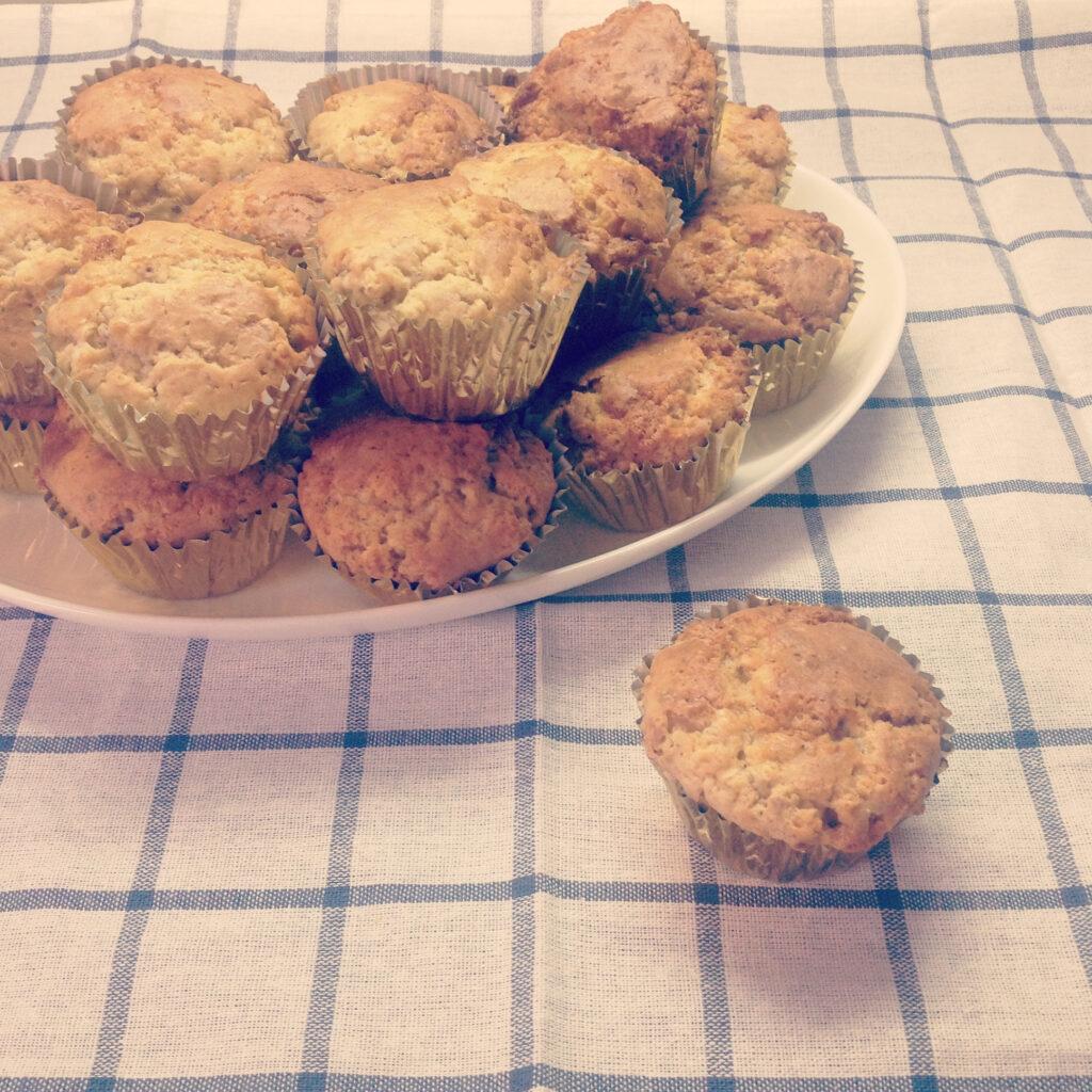 muffins chocolate blanco y pistachos