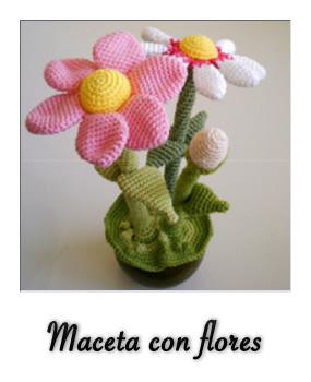 Patrón gratis de amigurumi maceta con flores