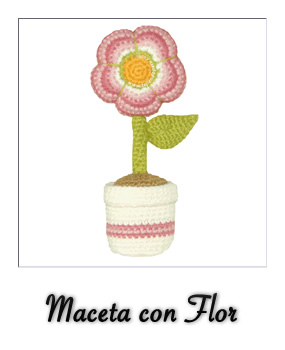 Martes patrones amigurumi maceta con flor