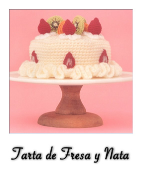 patron gratis amigurumi tarta de fresas y nata