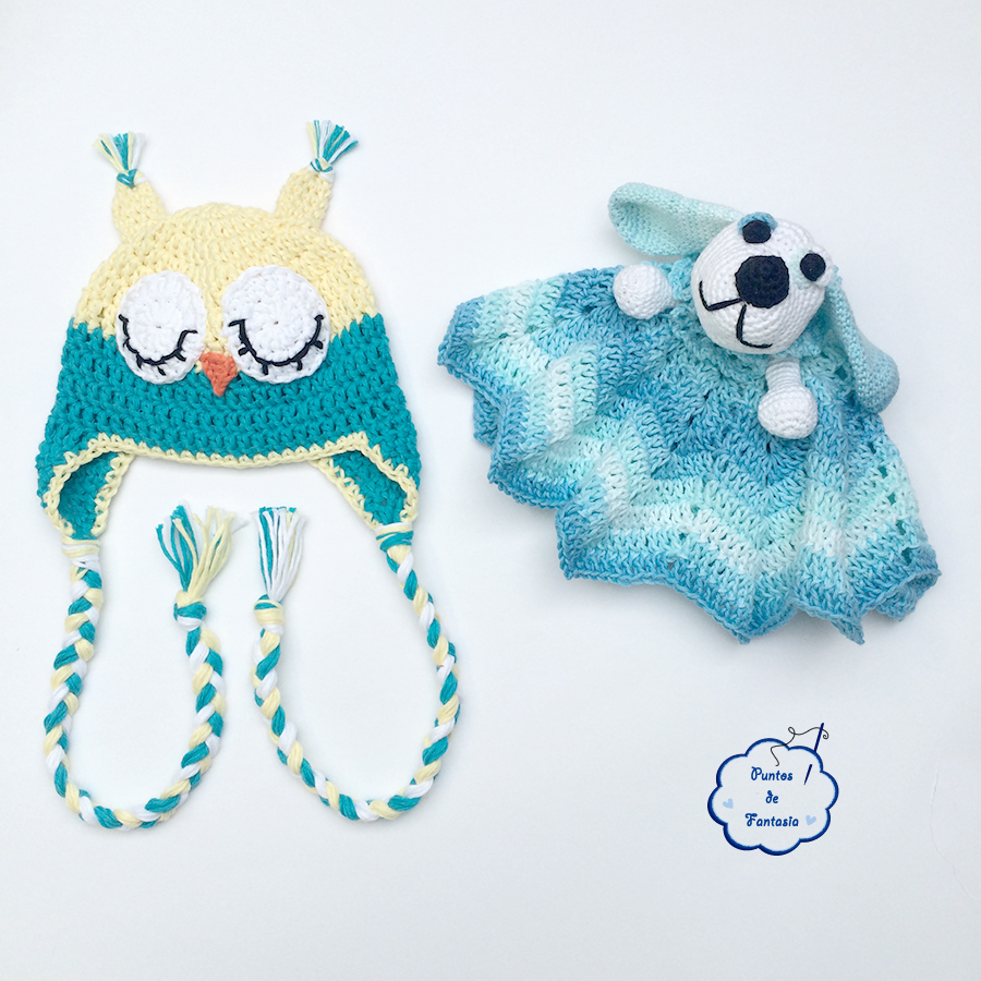 gorrito buho y manta de apego perrito crochet