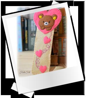 Patrones y tutoriales gratuitos: marcapáginas de fieltro oso corazón