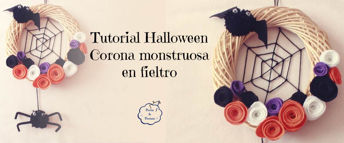 Corona monstruosa en fieltro - Tutorial Halloween