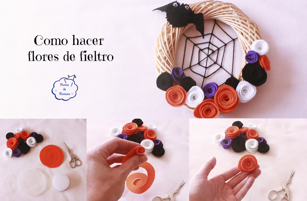 Tutorial Corona monstruosa de fieltro para Halloween