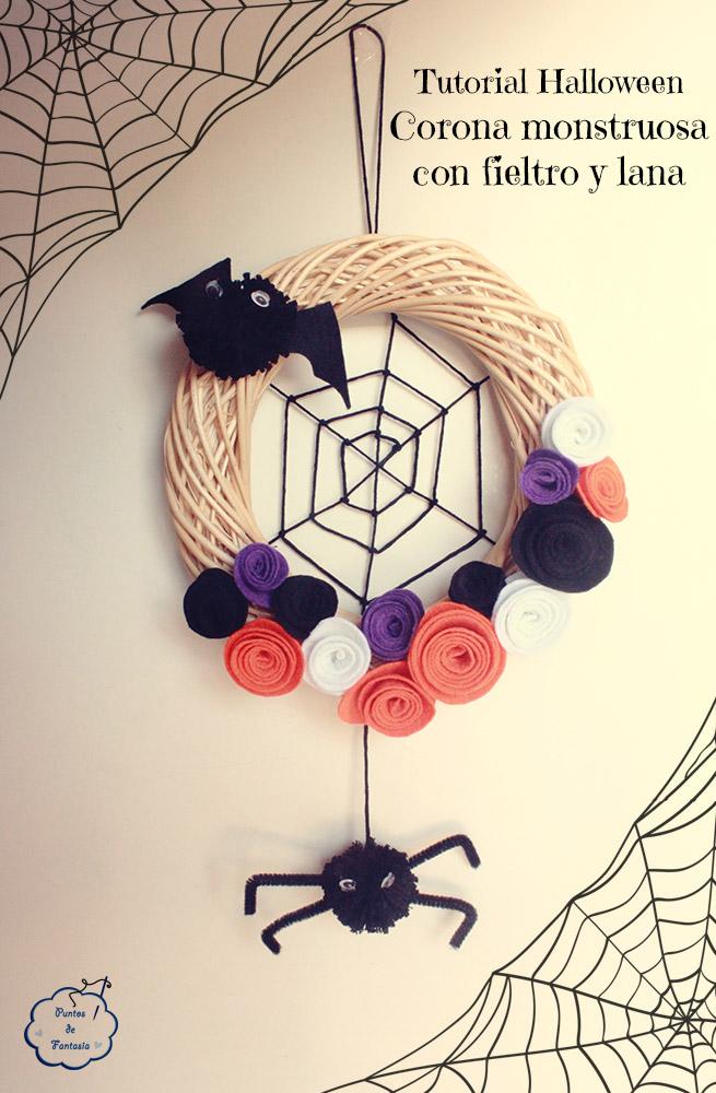 Tutorial Corona monstruosa de fieltro para Halloween