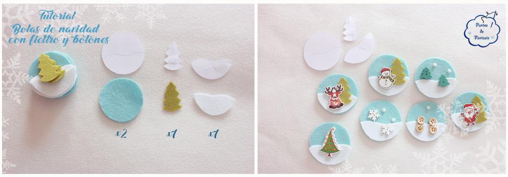 Tutorial de Bolas de Navidad con Fieltro y Botones - Puntos de ...