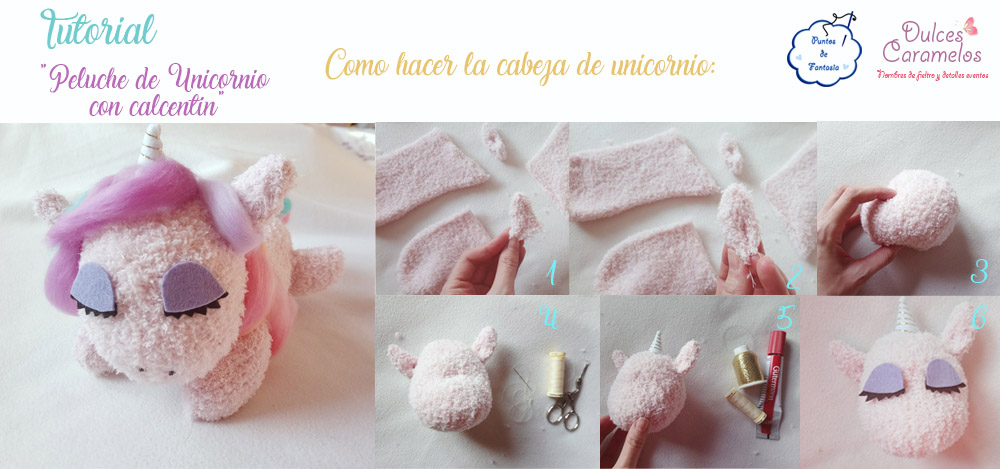 cabeza tutorial unicornio calcetin