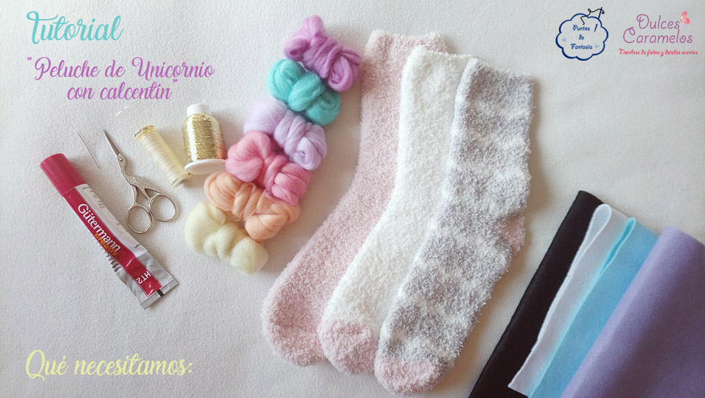 Materiales tutorial unicornio calcetin