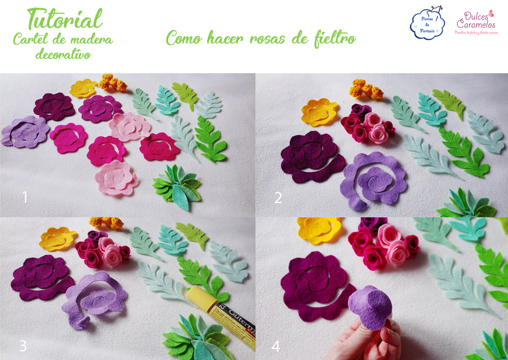 Tutorial cartel de madera flores fieltro