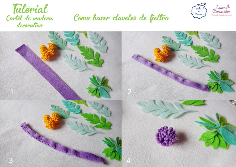Tutorial cartel de madera flores fieltro pompones