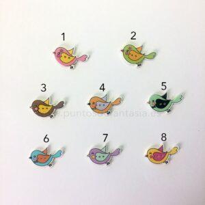 Botones Madera Pájaros
