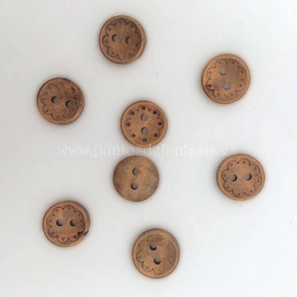 Botones madera decorados 13mm
