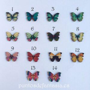 Botones Madera Mariposas