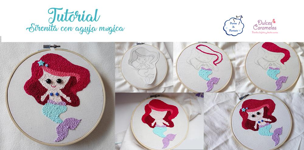 bordado tutorial sirenita aguja magica