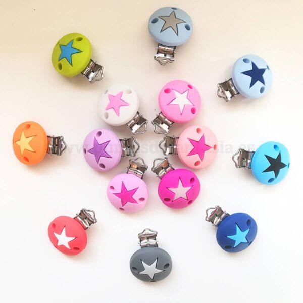 Clips Redondos con Estrella de silicona