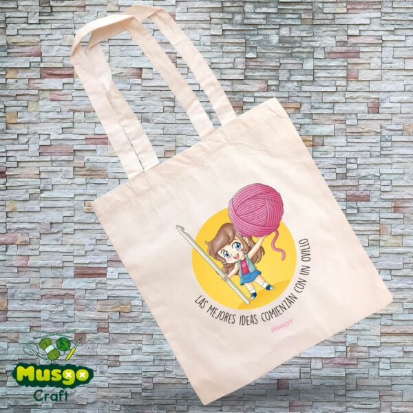 """Tote Bag """"Las mejores ideas comienzan con un ovillo"""""""